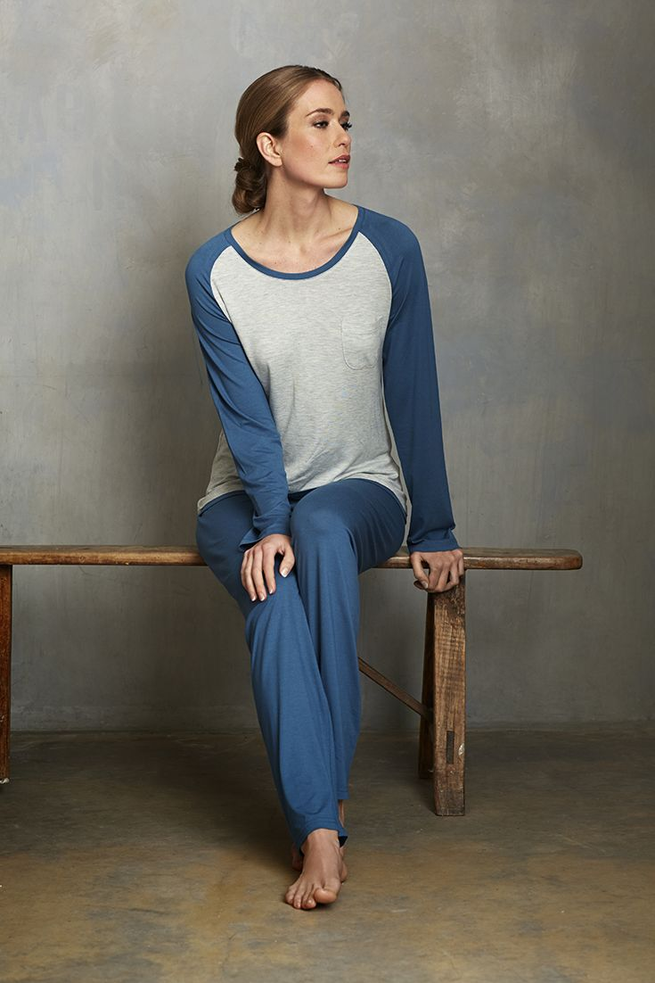 Be perfectly chic in this stylish blue pyjama set from Pastunette Deluxe