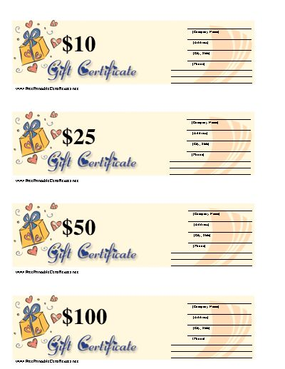 a blank gift certificate with hearts packages and room to write in business information