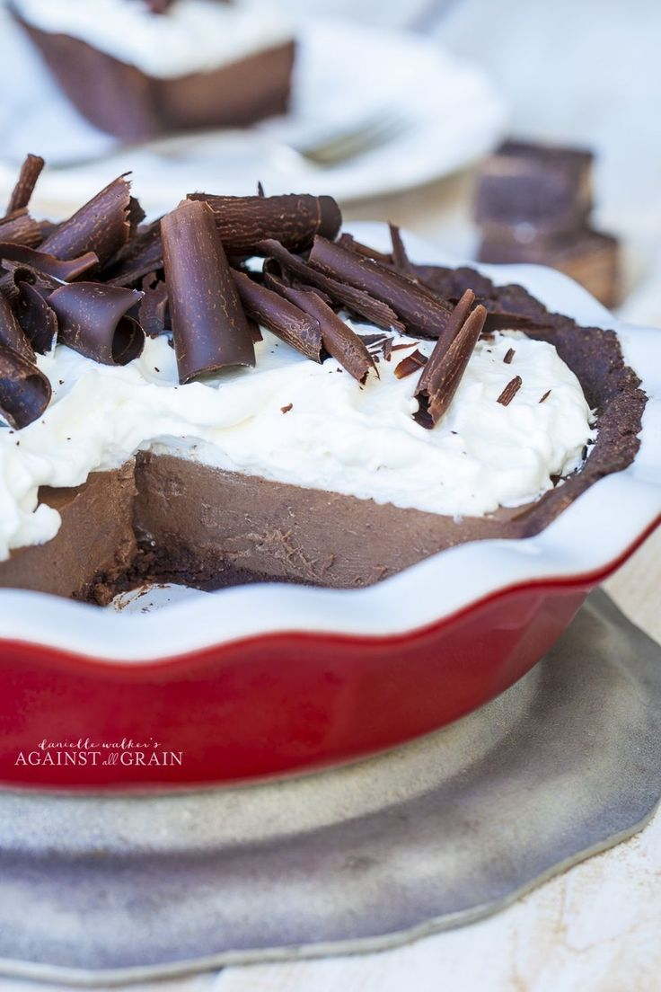 Chocolate Pudding Pie with Chocolate Cookie Crust - Against All Grain | Against All Grain - Delectable paleo recipes to eat & feel great