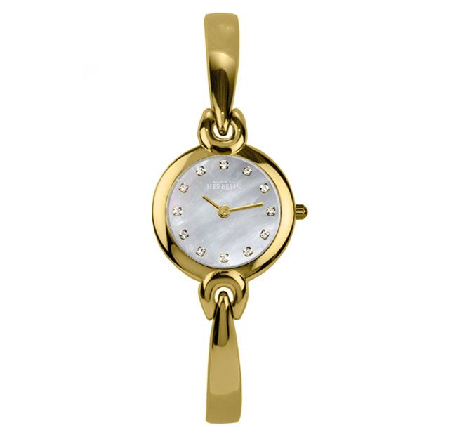 Michel Herbelin Ladies Gold Plate Watch 17001/BP59 Swiss Quartz Movement 18ct Gold Plate Case Case Dia 22mm Stainless Steel Back White Mother Of Pearl Dial Gold Plate Hands CZ Markers Sapphire Crystal Water Resistance 3atm 18ct Gold Plate Bangle With Adjustable Links Reference 17001/BP59 All Michel Herbelin Watches Arrive In Branded Packaging