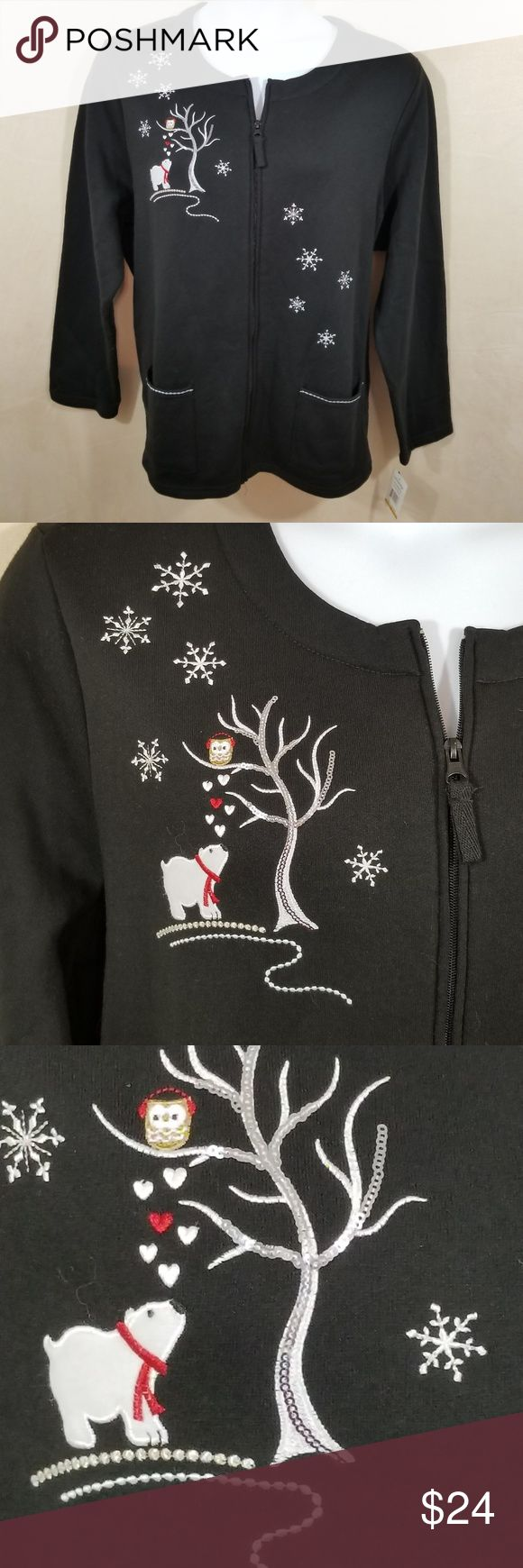 """Breckinridge Fleece Cardigan w/Bear & Owl- 3X -NWT Brand new Breckinridge black fleece cardigan.  Perfect for the season.  Adorable polar bear and owl embroidery with silver/white snowflakes as well.  The tree is a combination of sequins and embroidery.  Two front patch pockets trimmed with silver metallic embroidery.  Zip front.  Plain back. Fabric is 60% Cotton/40% Polyester.  New with tags.  Approximate measurements flat:   Chest: 27"""" (54"""") Sleeves: 26"""" Length: 28"""" Breckenridge Sweaters…"""