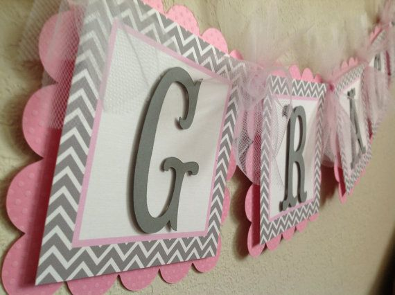 Pink and Grey Chevron Baby Shower or Birthday Name Banner on Etsy, $18.50