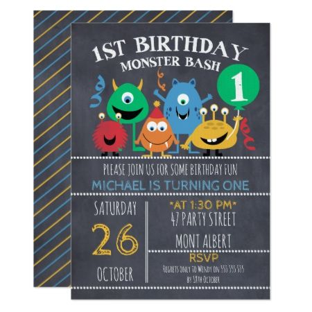 Boys Chalkboard Monsters 1st Birthday Invitation - click to get yours right now!