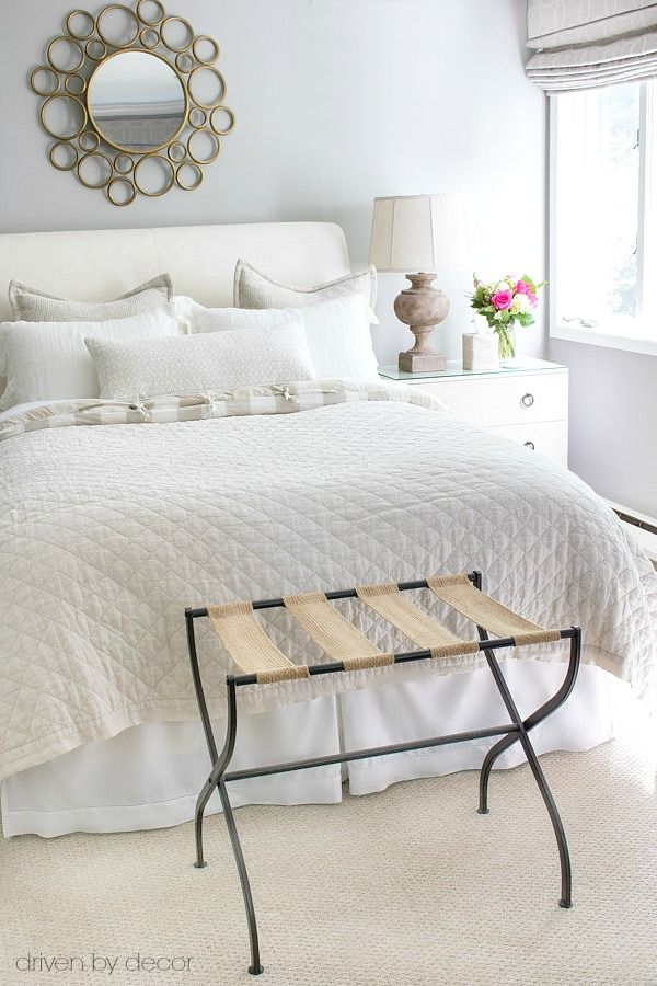 guest bedroom in neutrals with luggage rack a guest room must have - Decorating Ideas For Guest Bedrooms