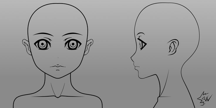 manga character template - anime girl model head template 01 by johnnydwicked on
