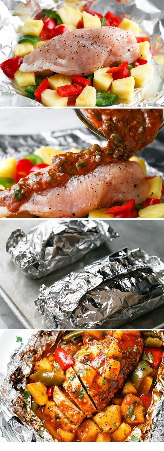 Packets of chicken foil bbq with baked pineapple – dinners of aluminum packages – #BBQ #Chicken baked …   – Foil Pack Recipes