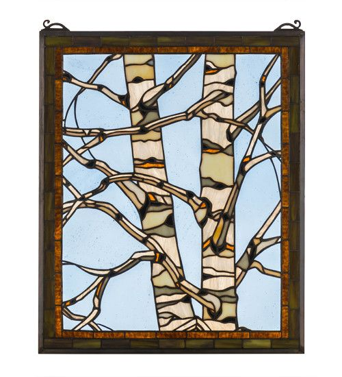 A bare branched Tan and White Birch tree is framed with Bronzed Green leaves bordered in Bark Brown against an icy Clear glass sky. This Meyda Tiffany Original window will bring the charm of the North