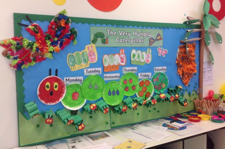 The Very Hungry Caterpillar display EYFS. I'm in love with this... Almost all made by the children