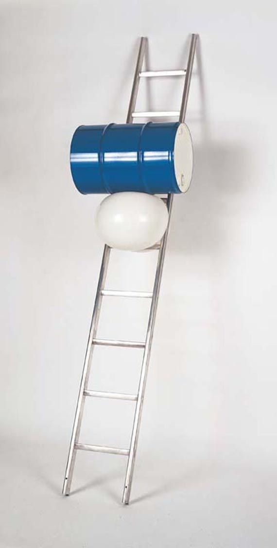 Roman Signer, Ladder with barrel, 2001