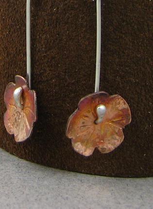 Autumn flower earrigs,  Jewelry, copper  flowers  light
