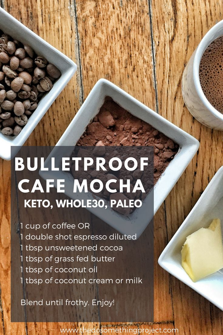 Bulletproof coffee mocha. Keto, whole30, paleo friendly. No added sugar or dairy.