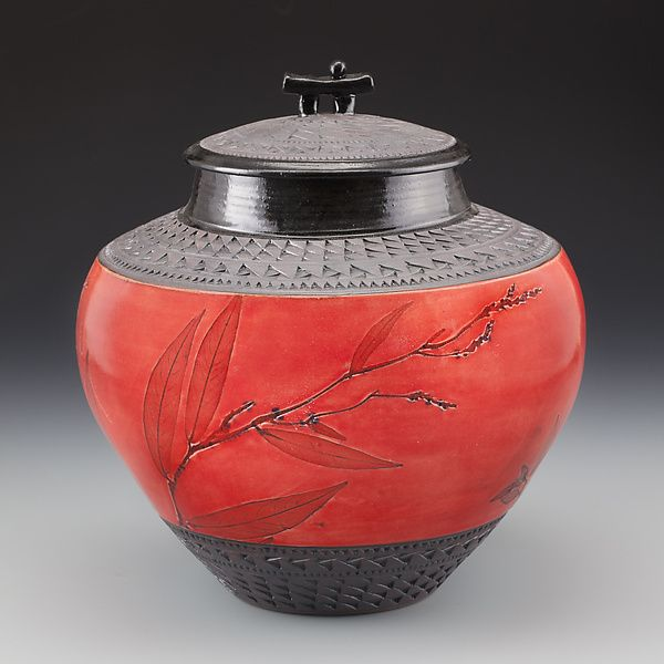 Oriental Jar in Red with Grasses by Suzanne Crane: Ceramic Vessel available at www.artfulhome.com