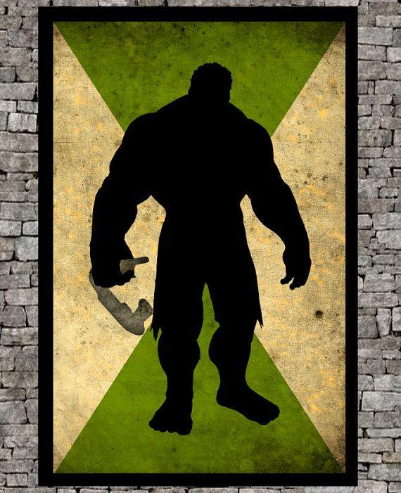 "Hulk Avengers superhero - minimalist art movie poster giclee marvel inspired illustration prints 11""x17"""