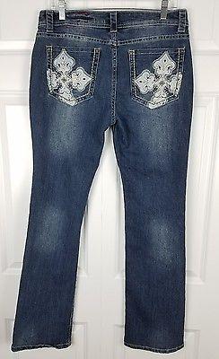 Red Label London Rose Royce Premium Womens Bootcut Bling Jeans Sz 30 x 32 11/12