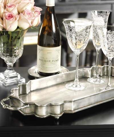 Silver serving trays are essential's for holiday entertaining in the South.