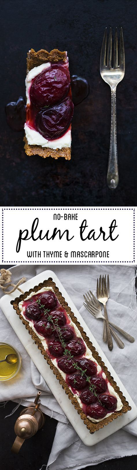 No-bake plum tart with mascarpone, thyme, and gingersnap crust | One Tough Cookie