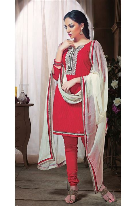 Beautiful Simple Wear Cotton Red,White Suit