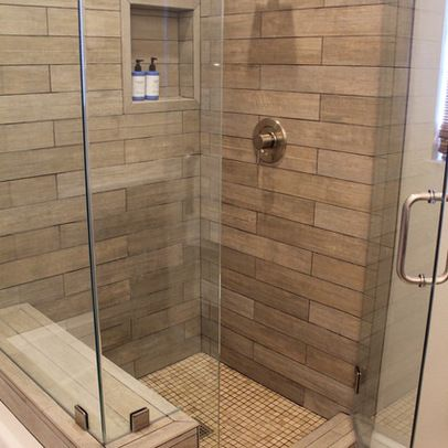 example of wood tile shower