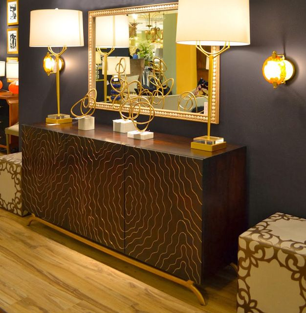 Brass Inlay Hollywood Regency Faux Bois Contemporary Media Cabinet transitional-media-storage