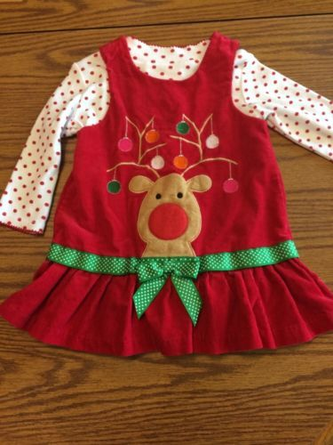 Bonnie baby girls red christmas reindeer corduroy holiday jumper dress
