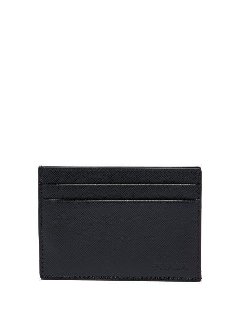 56407d340426 PRADA Money-clip saffiano-leather cardholder. #prada   Prada ...