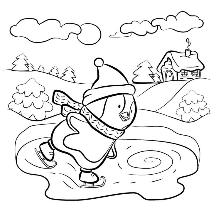 Winter Coloring Pages Coloring pages winter, Penguin