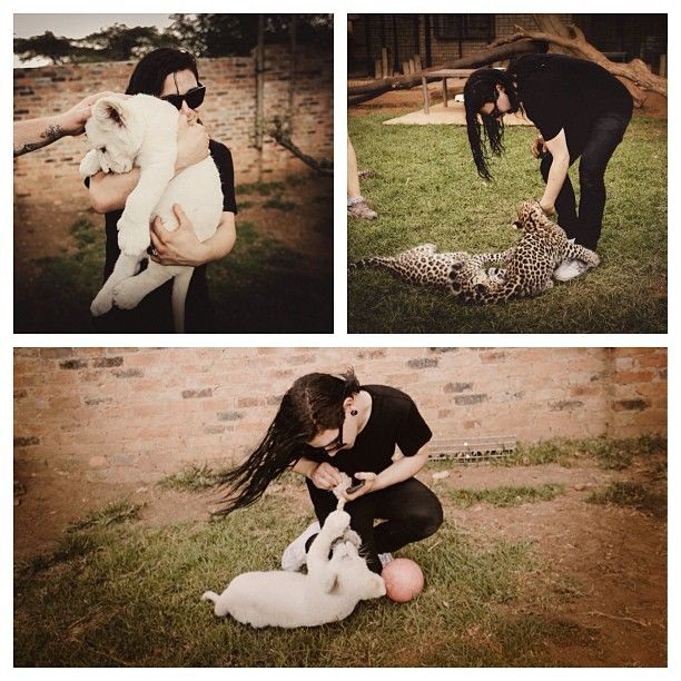 Skrillex has a fun day playing with baby lions in South Africa