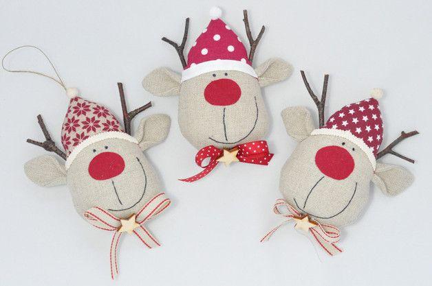 Renifer, renifery, zawieszki na choinkę - 1 szt - arcdeco - Dekoracje bożonarodzeniowe