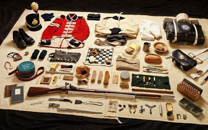 1815 private soldier, Battle of Waterloo  Kit issued to soldiers fighting in the Battle of Waterloo included a pewter tankard and a draughts set.