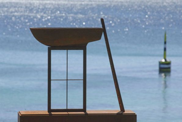 Peter Tilley, 'Many Rivers to Cross' 2011, cast iron, corten steel 163 x 92 x 32cm  Courtesy Sculpture by the Sea Cottesloe, Photo by Clyde Yee