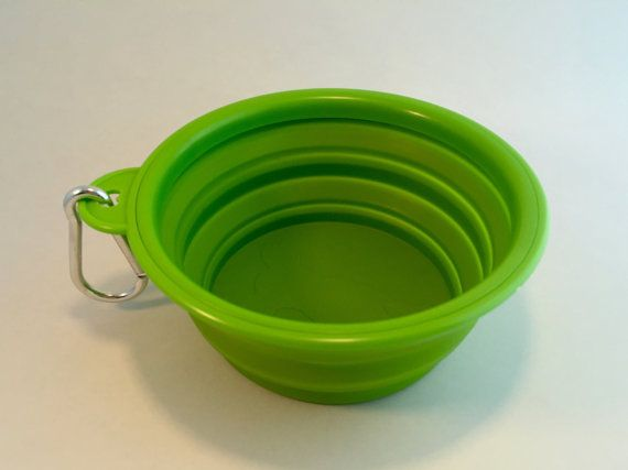 Collapsable Dog Bowl Green by PomptonPetSitters on Etsy