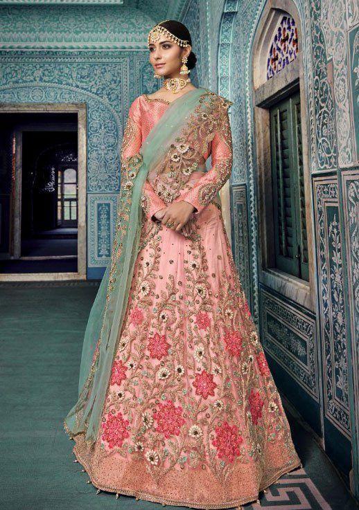 850b613342 Buy Light pink Silk Indian wedding lehenga in UK, USA and Canada in ...