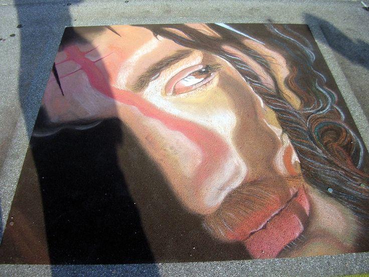 Passione di Cristo gessetto su asfalto  200X200