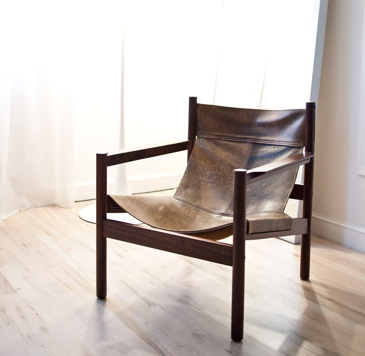 leather sling chair: Living Rooms Chairs, Wood Chairs, Brick Houses, Old Chairs, Leather Chairs, Design Home, Chairs Design, Side Chairs, Portland Oregon