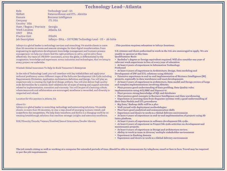 We have an opening for Technology Lead @ Atlanta, GA Interested - software developer job description