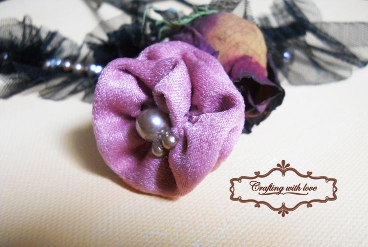 ~Soft pink~ Fabric handmade brooch.