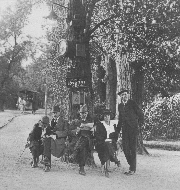 1920. Lóvasútra váró utasok a Margit-szigeten.