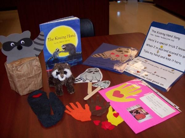 kissing hand and tons of other literacy center or literacy bag ideas.