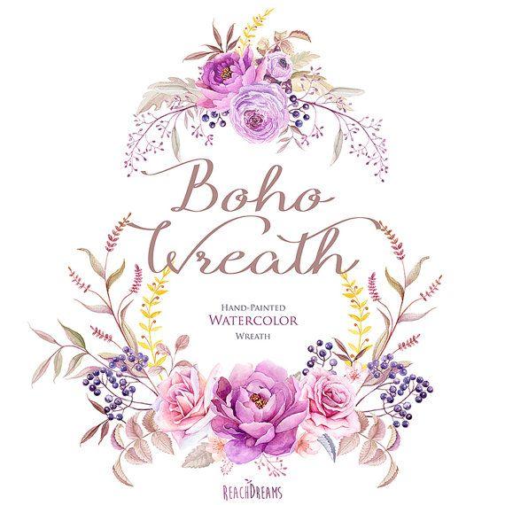 Watercolor Boho Wreath Flowers Hand Painted. от ReachDreams