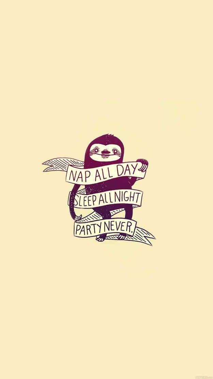 Nap | Sloth | Sleep | Phone Background | Minimalist | Simple | Cute