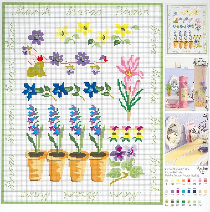 March Flowers free cross stitch pattern from www.coatscrafts.pl