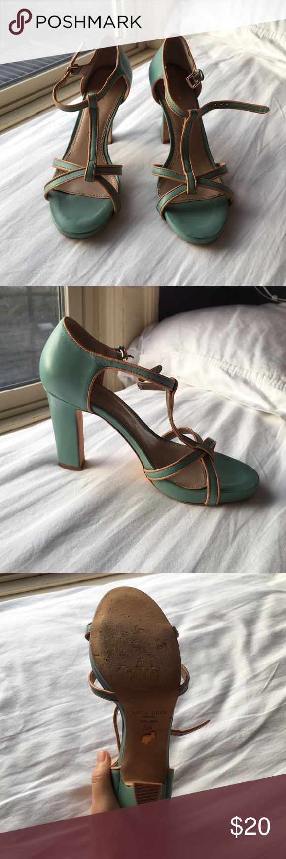 Lola cruz sea green & tan heels! ~3 in heel. super cute color and feel. lightly used. one of the pads on the toe area peels up just a few millimeters but easily glued back down if it becomes an issue! comes with original bag and box it came with 😊 Lola Cruz Shoes Heels