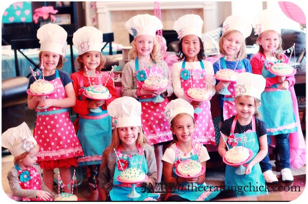 Bakery party.  Apron, cakes to decorate, etc.