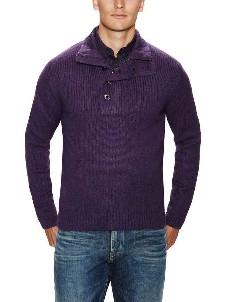 Half Zip And Button Turtleneck Sweater Men Fashion