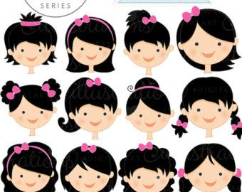 Brunette Girl Faces Create A Character Series por JWIllustrations