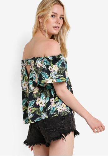 231918b082b86 TOPSHOP green Hawaiian Print Bardot Top TO412AA37RGSMY 1 ...