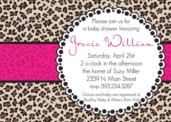 Gracie Custom Cheetah Baby Shower Invitation by andreagerigdesigns, $15.00