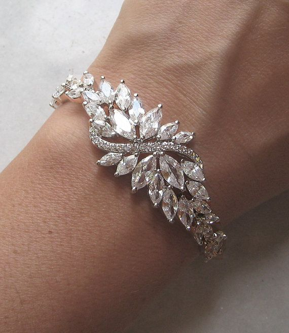 Swarovski Rhinestone Bracelet Crystal Wedding by TheRedMagnolia