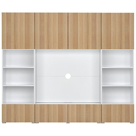 Buy Match Large entertainment unit - White frame / Oak doors / White panel Online at johnlewis.com