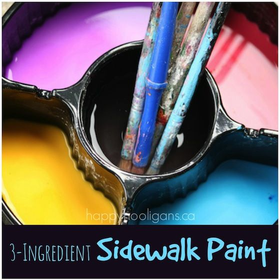 Run out of sidewalk paint - don't worry here's a quick and easy homemade sidewalk paint recipe using only 3 ingredients in the kitchen.